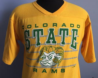 80s Vintage Colorado State University Rams 1989 ncaa college T-Shirt - LARGE