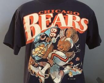 80s Vintage Chicago Bears #99 Dan Hampton Jack Davis cartoon 1988 nfl football T-Shirt - XL X-LARGE