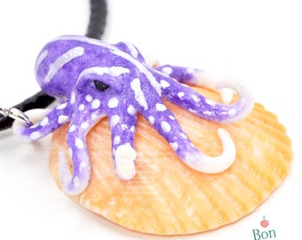 Dark Purple White and Pearl Octopus on Peach Seashell, Polymer Clay Octopus Jewelry, Seashell Pendant