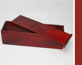 Wooden Box with a Slide Lid - 3.54x3.54x13.78 inches - Red Box - Keepsake Box - Storage Box - Wine Gift Box