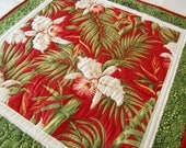 Quilted Tropical Table Topper, Orchids and Palms, Christmas, Valentine Decor, Housewarming, For Her Home, Cottage Chic, OOAK, Handmade