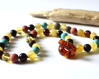 Amber Necklace, Amber Jewelry Gift For Her, Amber, Turquoise, Coral Necklace, Colorful Amber Jewelry, Summer Necklace