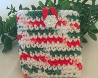 Christmas Gift Card Holder - Holiday Business Card Holder - Credit Card Holder - Red and Green Card Sleeve