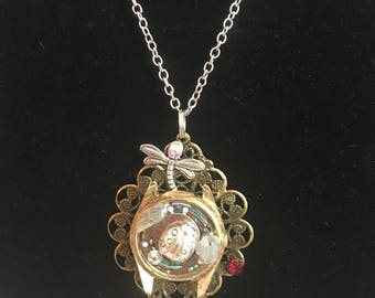 Steampunk Necklace with Dragonfly & Ladybug Embellishments