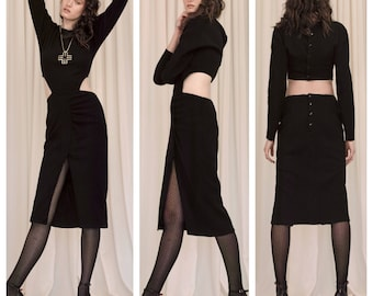 vintage 80s YVAN & MARZIA long sleeve wool waist cut out bare back front slot dress
