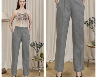 vintage 80s/90s MAX MARA grey marle wool tailored pants trousers
