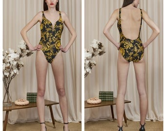 vintage 80s PIERRE CARDIN plunge front scoop back baroque print gold metallic foil one piece leotard bodysuit body