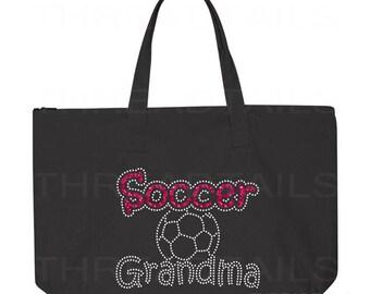 Soccer Grandma Tote Bag. Glitter Rhinestone Soccer Sparkly tote.  Gifts for Grandmothers, Soccer Grandparent.  Large black bag, Zipper top.