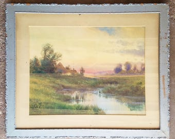 Vintage Watercolor on Paper by Howell Wilson Signed lower right hand corner, depicting a lakeside landscape.