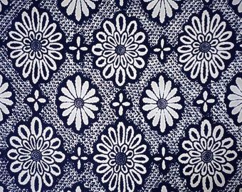 Indigo Hanabishi Vintage Japanese cotton yukata fabric. Vintage kimono fabric