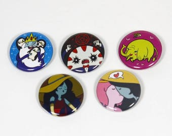 "Adventure Time Buttons - Ice King / Peppermint Butler / Tree Trunks / Marceline / Bubbline - 1.25"" Pinback Button Set"