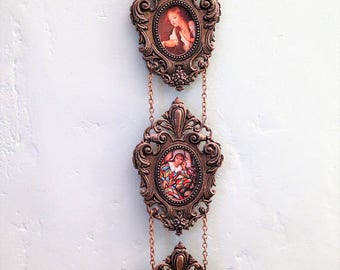 Set of Three Hanging Picture Frames - 3 Connected Picture Frames -Vintage Photograph Frames - Bohemian Home Decor - Shabby Chic - Italian