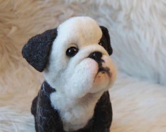 Needle Felted English Bulldog Puppy,  Felt Dog, Custom Pet Sculpture, English Bulldog, French Bulldog or any other breed - made to order