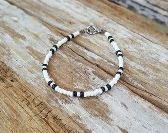 black and white bracelet monotone beach men's or unisex surfing jewellery