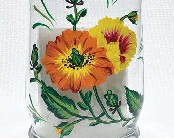 Candle Holder Hand Painted Yellow and Orange Flowers, Home Decor, Gifts For Her, Gift Ideas, Wedding Shower Gift, Housewarming Gift