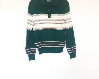 Green Sweater Vintage Stripe Jumper Pullover Collared Sweater Vintage Striped Jumper Retro Button Up Striped Sweater Vintage Green and Red