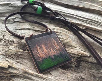 Etched Copper Pinetree Necklace with Torch Fired Green Glass Enamel