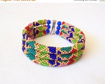 15% SALE 3 Strand Colorful  Multicolor Bead Crochet Bracelet - Bright Geometrics - green - red - blue - pink - emerald - grold
