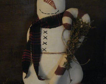 """13""""  Primitive Snowman and Candy Cane Doll"""