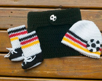 SOCCER BABY OUTFIT, Germany Flag Baby, Crochet Soccer Beanie, Soccer Baby Hat, White Black Red Gold, Baby Knit Soccer Hat, Soccer Booties