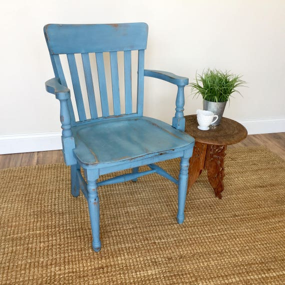 French Blue Wooden Office Chair - Rustic Farmhouse Furniture - Vintage Furniture Library Chair - Home Office Furniture - Wooden Accent Chair