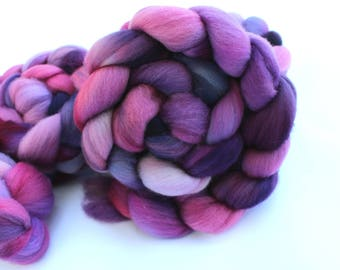 4oz Organic Polwarth 'Blueberry Cobbler' Combed Top Roving Dyed Wool Spinning Fiber batt
