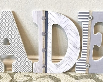 Custom Nursery Letters, Baby Boy Nursery Decor, Personalized Wooden Letters, Wall Letters, Hanging Letters, Rustic Boy Room, Boy Baby Shower