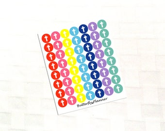 Cross Multicolor Icon Stickers, Church Activity, Religious Reminder