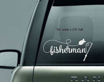 Fishing Monogram Decal - Car Decal - Car Sticker - Permanent Decal - Fishing Pole - Fisherman - Hunting - Fishing - Decal