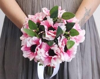 "Artificial Pink Anemone & Eucalyptus Bouquet - 13.5"" Tall"