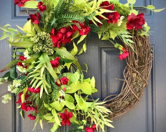 Spring Wreaths, Red Green Wreaths, Spring Door Decor, Gift for Her, Housewarming Gift, Gorgeous Wreath, Bright Green, Summer Wreaths, Green