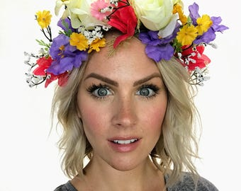 Multi Colored Festival Floral Crown Head Wreath