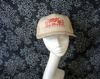 Miller Beer Vintage 90s Snapcback Alaska Baseball Cap. Miller Beer 80s Mesh Trucker Hat. 80s Made The American Way Miller Beer Hat