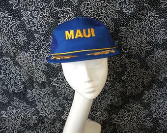 Retro Maui Hawaii Truckers Cap. Mesh Baseball Snapback Cap With Maui Embroidered On Front. Military Leaf Embroidery On Brim