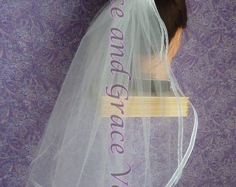 First Communion Veil (l) White on Comb/Barrette