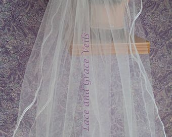 First Communion Veil (q) White on Comb/Barrette