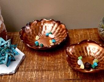 Vintage Handmade Gregorian Solid Copper Bowl Set/ 1970s Copper/ Copper Decor/ Hammered Copper Bowl
