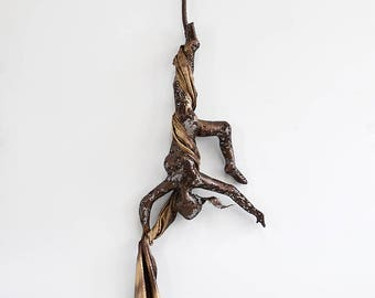 Metal sculpture, Acrobat sculpture, Aerial silks, 3d wall art, Gymnastics sculpture, interior design