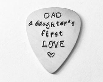 Dad- A Daughters First Love Guitar Pick - Personalized Father of the Bride Wedding - New Dad - Birthday Gift