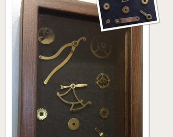 Shadowbox with Clock Parts