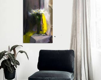 Contemporary oil painting yellow canvas art, Still life art with flowers, White floral painting modern black and yellow wall canvas original