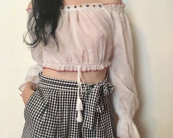 90s does 70s white cropped boho blouse, pirate shirt, bohemian festival top, xs small - vintage -