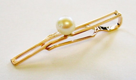 10K Solid Yellow Gold & Genuine Pearl Tie Clip, Tie Bar...