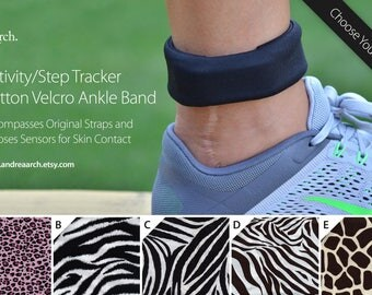 Animal Print Activity/Step Tracker 100% Cotton Velcro Ankle Band – Encompasses Original Straps and Exposes Sensors for Skin Contact