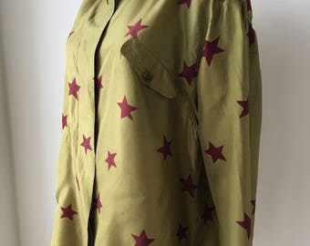 """Olive green silk blouse star print top button up plus size loose fit blouse avant garde Germany oversized chest 48"""""""