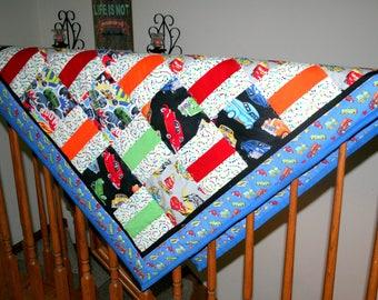 Cars Trucks Crib Quilt Child's Floor Quilt Boy Crib Quilt Transportation Theme Nursery Quilt