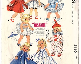 McCall's 2150 Vintage 1950s 7-8 Inch Doll Wardrobe Sewing Pattern