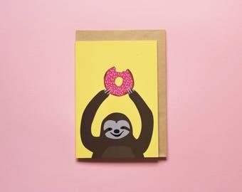 Doughnut Sloth (yellow) - Greeting card