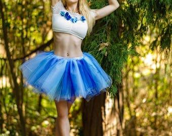 Adult tutu, blue tutu skirt, tulle tutu, rave edc raver outfit, fantasy tutu, dance tutu, color run tutu,80s clothes, frozen tutu,