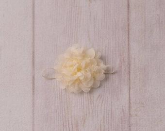 Ivory Newborn Headbands - Ivory Baby Headbands, Ivory Flower Headbands, Ivory Headband, Baby Headbands, Ivory Headbands